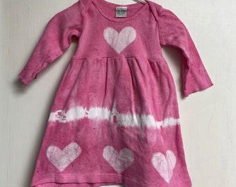 Baby Valentine's Day Dress, Baby Tie Dye Dress, Girls Valentine's Day Dress, Girls Tie Dye Dress, Girls Dress with Hearts, Baby Heart Dress