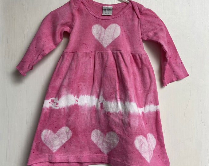Featured listing image: Baby Valentine's Day Dress, Baby Tie Dye Dress, Girls Valentine's Day Dress, Girls Tie Dye Dress, Girls Dress with Hearts, Baby Heart Dress