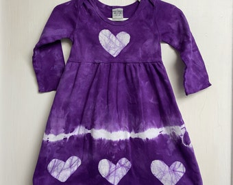 Purple Girls Dress, Girls First Birthday Gift, Purple Heart Dress, Valentine's Day Dress, Purple Baby Dress, Long Sleeve Dress (12 months)