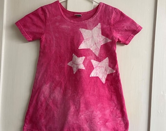 Girls Star Dress, Hot Pink Star Dress, Pink Girls Dress, Batik Girls Dress, Celestial Girls Dress, Short Sleeve Girls Dress (4T)