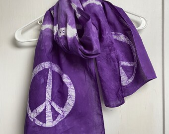Peace Sign Scarf, Purple Peace Sign Scarf, Purple Peace Scarf, Purple Tie Dye Scarf, Purple Scarf, Teacher Gift, Gift for Mom, Tie Dye Scarf