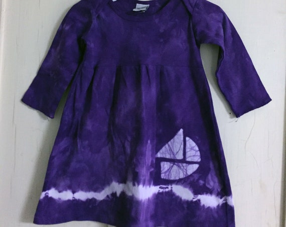Baby Sailboat Dress, Purple Sailboat Dress, Purple Boat Dress, Baby Boat Dress, Girls Sailboat Dress, Girls Boat Dress, Tie Dye (12 months)