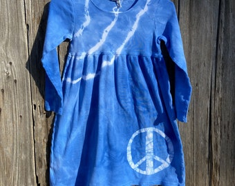 Peace Sign Dress, Girls Peace Sign Dress, Girls Peace Dress, Dress with Peace Sign, Tie Dye Peace Sign Dress, Long Sleeve Dress, Peace Dress