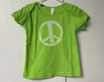 Baby Peace Sign Shirt, Peace Sign Shirt for Baby, Peace Sign Baby Gift, Green Baby Gift, Gender Neutral Baby Gift, Green Peace Shirt (18m)