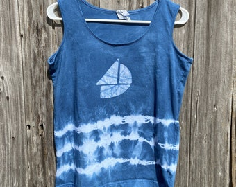 Sailboat Tank Top, Boat Tank Top, Nautical Tank Top, Womens Tank Top, Ladies Tank Top, Tie Dye Tank Top, Blue Ladies Tank Top (L)