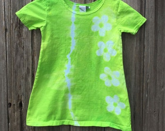 Green Girls Dress, Flower Girls Dress, Green Flower Dress, Girls Flower Dress, Lime Green Girls Dress, Tie Dye Girls Dress (4T) SALE
