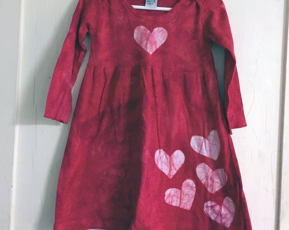 Girls Valentine's Day Dress, Red Girls Dress, Red Valentine's Day Dress, Red Heart Dress, Girls Heart Dress, Girls Batik Dress (2T)