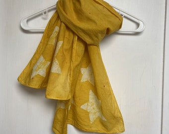 Star Scarf, Yellow Star Scarf, Celestial Scarf, Mustard Yellow Scarf, Batik Star Scarf, Teacher Gift, Mothers Day, Gift for Mom, Batik Scarf