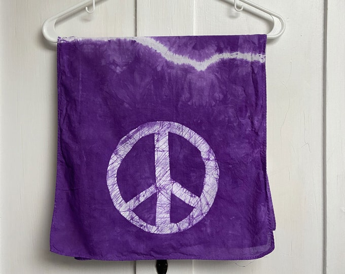 Featured listing image: Peace Sign Scarf, Peace Scarf, Tie Dye Scarf, Batik Peace Scarf, Peace Tie Dye Scarf, Batik Scarf, Teacher Gift, Gift for Mom, Cotton Scarf
