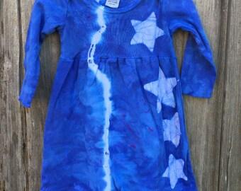 Baby Star Dress, Blue Baby Dress, Tie Dye Baby Dress, Celestial Baby Dress, Batik Baby Dress, Girls First Birthday Gift (12 months)