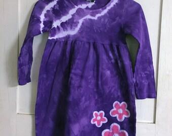 Purple Girls Dress, Flower Girls Dress, Purple Flower Girls Dress, Purple Flower Dress, Girls Purple Dress, Long Sleeve Dress, Tie Dye (6)
