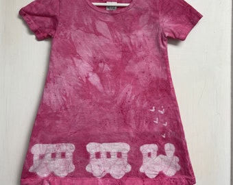 Girls Train Dress, Pink Train Dress, Train Dress for Girls, Pink Girls Dress, Batik Girls Dress, Train Dress, Girls Dress, Pink Train (2T)