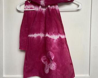 Tie Dye Scarf, Flower Scarf, Batik Flower Scarf, Pink Scarf, Pink Flower Scarf, Bridesmaid Gift, Mothers Day Gift, Cotton Scarf, Batik Scarf