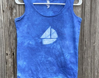 Sailboat Tank Top, Boat Tank Top, Nautical Tank Top, Womens Tank Top, Ladies Tank Top, Sleeveless Womens Top, Blue Ladies Tank Top (M)