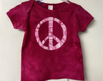 Baby Peace Sign Shirt, Peace Sign Shirt for Baby, Peace Sign Baby Gift, Pink Baby Gift, Baby Girl Gift, Pink Peace Shirt, Baby Shower (6m)