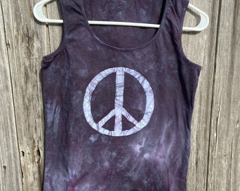 Black Peace Sign Tank Top, Peace Sign Tank, Black Peace Tank Top, Ladies Peace Sign Top, Womens Peace Sign Top, Ladies Peace Shirt (S)