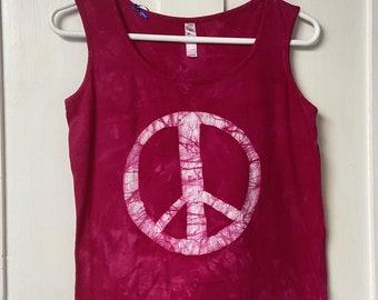 Pink Peace Sign Tank Top, Peace Sign Tank, Pink Peace Tank Top, Ladies Peace Sign Top, Womens Peace Sign Top, Ladies Peace Shirt (M)
