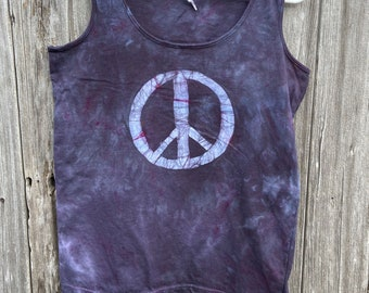 Black Peace Sign Tank Top, Peace Sign Tank, Black Peace Tank Top, Ladies Peace Sign Top, Womens Peace Sign Top, Ladies Peace Shirt (L)