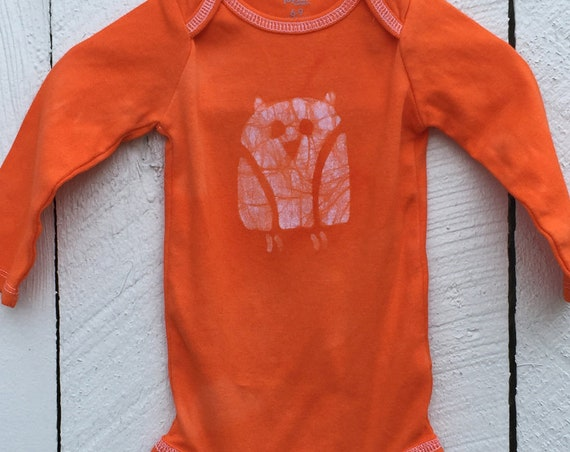Owl Baby Bodysuit, Owl Baby Gift, Baby Owl Gift, Gender Neutral Baby Gift, Orange Baby Gift, Orange Owl Baby Bodysuit (6-9 months)
