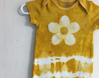 Yellow Flower Baby Bodysuit, Yellow Baby Bodysuit, Flower Baby Bodysuit, Yellow Baby Gift, Baby Shower Gift, Baby Girl Gift (3-6 months)