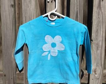 Flower Girls Shirt, Girls Flower Shirt, Light Blue Flower Shirt, Kids Flower Shirt, Turquoise Flower Shirt, Long Sleeve Kids Shirt (4T)