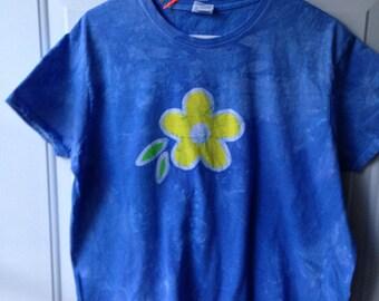 Blue Womens Shirt, Batik Womens Shirt, Flower Womens Shirt, Womens Flower Shirt, Batik Ladies Shirt, Blue Flower Shirt, Ladies Top (XL)
