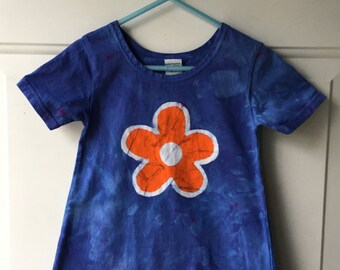 Blue Girls Dress, Flower Girls Dress, Batik Girls Dress, Orange Flower Girls Dress, Blue Flower Dress, Girls Flower Dress (2T)