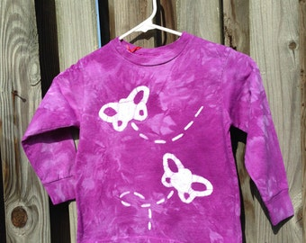 Purple Butterfly Shirt, Girls Butterfly Shirt, Kids Butterfly Shirt, Purple Butterflies Shirt, Batik Kids Shirt, Purple Batik Shirt (4/5)