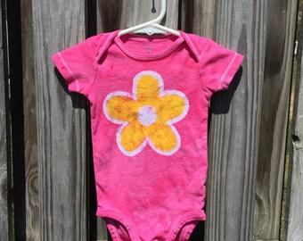 Baby Girl Gift, Baby Girl Bodysuit, Pink Baby Girl Bodysuit, Baby Girl Shower Gift, Batik Baby Girl Gift, Pink Baby Girl Bodysuit (9 months)