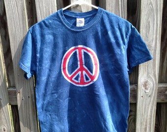 Peace Sign Shirt (Adult M), Mens Peace Sign Shirt, Ladies Peace Sign Shirt, Patriotic Peace Sign Shirt, Batik Peace Sign Shirt (Adult M)