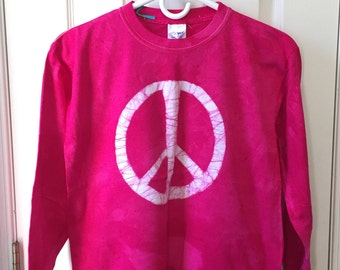 Kids Peace Sign Shirt, Pink Peace Sign Shirt, Fuchsia Peace Shirt, Batik Kids Shirt, Batik Peace Sign Shirt, Peace Kids Shirt (12)