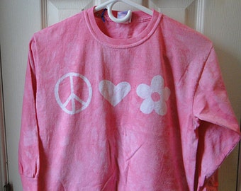 Pink Girls Shirt, Girls Peace Sign Shirt, Pink Peace Sign Shirt, Long Sleeve Girls Shirt, Girls Birthday Gift, Tween Girls Shirt (10)