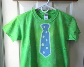 Kids Tie Shirt, Kids Necktie T-Shirt, Batik Tie Shirt, Green Tie Shirt, Funny Kids Shirt, Funny Boys Shirt, Back to School (Youth S)