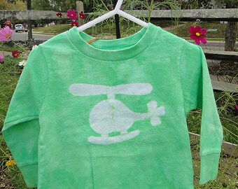 Kids Helicopter Shirt, Boys Helicopter Shirt, Green Helicopter Shirt, Girls Helicopter Shirt, Long Sleeve Shirt (18 months) SALE