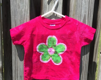 Toddler Girls Shirt, Pink Girls Shirt, Pink Toddler Shirt, Batik Kids Shirt, Girls Flower Shirt, Flower Girls Shirt (18 months)