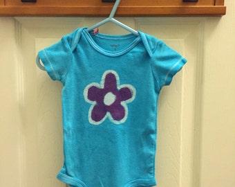 Flower Baby Bodysuit, Turquoise Baby Bodysuit, Light Blue Baby Bodysuit, Baby Girl Gift, Baby Shower Gift (6 months)