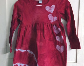 Valentine's Day Dress, Red Heart Dress, Red Girls Dress, Girls Valentine's Day Dress, Long Sleeve Girls Dress, Tie Dye Girls Dress (8)