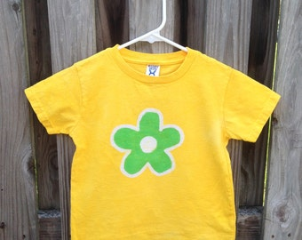 Flower Girls Shirt, Kids Flower Shirt, Yellow Flower Shirt, Green Flower Shirt, Girls Flower Shirt, Batik Kids Shirt (4T)