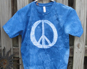 Peace Sign Shirt, Blue Peace Sign Shirt, Batik Peace Sign Shirt, Mens Peace Sign Shirt, Womens Peace Sign Shirt, American Made Shirt (S)