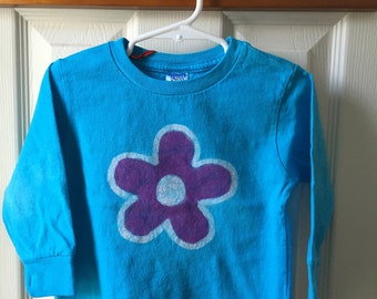 Flower Girls Shirt (2T), Turquoise Flower Shirt, Girls Flower Shirt, Kids Flower Shirt, Purple Flower Shirt, Toddler Girls Shirt