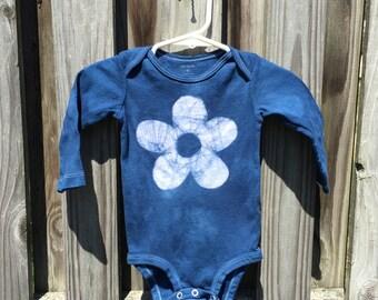 Baby Girl Gift, Baby Girl Bodysuit, Baby Shower Gift, Blue Baby Girl Gift, Blue Flower Bodysuit, Batik Baby Gift (9 months)