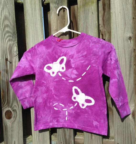 Purple Butterfly Shirt, Girls Butterfly Shirt, Kids Butterfly Shirt, Purple Butterflies Shirt, Batik Kids Shirt, Purple Batik Shirt (4/5)