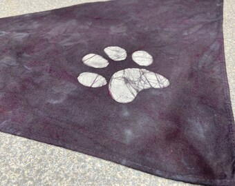 Paw Print Dog Scarf, Paw Dog Scarf, Dog Print Dog Scarf, Paw Print Dog Bandana, Batik Dog Scarf, Batik Dog Bandana, Scarf for Dogs