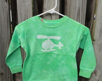 Kids Helicopter Shirt, Boys Helicopter Shirt, Girls Helicopter Shirt, Green Helicopter Shirt, Kids Long Sleeve Shirt (4T) SALE
