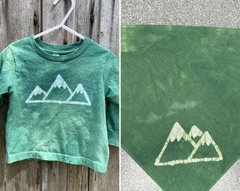 Kid and Dog Mountain Shirts, Mountain Kid and Dog Matching Outfits, Matching Kid and Dog Set, Matching Kid and Dog Clothes, Child Pet Set