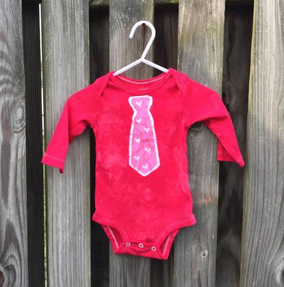 Baby Valentine's Day Bodysuit, Baby Bodysuit with Tie, Baby Boy Valentines, Baby Girl Valentines, First Valentines Day (6 months)