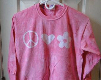 Pink Girls Shirt, Girls Peace Sign Shirt, Pink Peace Sign Shirt, Long Sleeve Girls Shirt, Girls Birthday Gift, Tween Girls Shirt (10)
