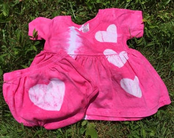 Pink Baby Dress Set, Baby Girl Dress and Diaper Cover, Baby Girl Gift, Pink Baby Dress, Baby Shower Gift, Valentine's Day Dress (12 months)