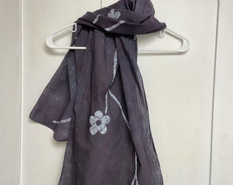 Black Scarf, Black Flower Scarf, Flower Scarf, Valentine's Day Gift, Bridesmaid Gift, Teacher Gift, Mothers Day, Gift for Mom, Cotton Scarf
