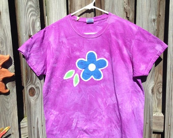 Batik Ladies Shirt, Ladies Flower Shirt, Womens Flower Shirt, Purple Ladies Shirt, Batik Flower Shirt, Purple Flower Shirt, Womens Batik (L)